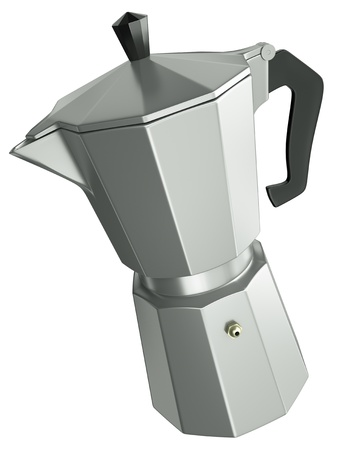 with coffee maker: Italian coffee maker isolated on white background. 3D render.
