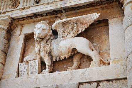16th: 16th century Venetian Lion of St Mark in Zadar, Croatia. Stock Photo