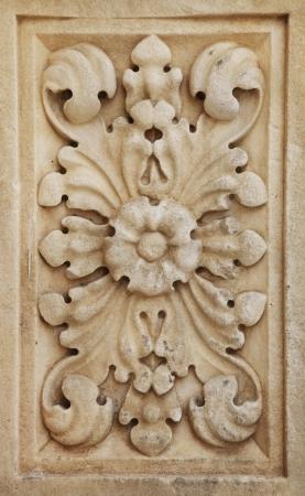 Närbild av arkitektoniska prydnad på en gammal byggnad i Sibenik, Kroatien