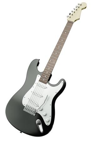 tremolo: Nero chitarra elettrica isolato su sfondo bianco. Rendering 3D.