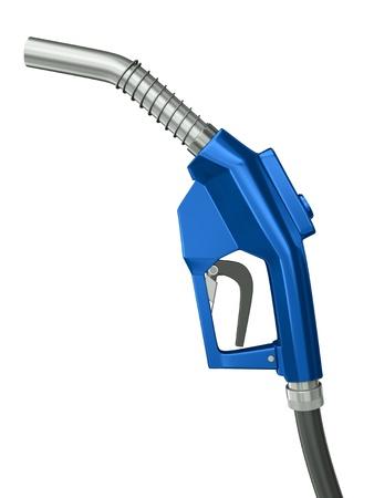 hose: Boquilla azul bomba de gas aisladas sobre fondo blanco. Render 3D.