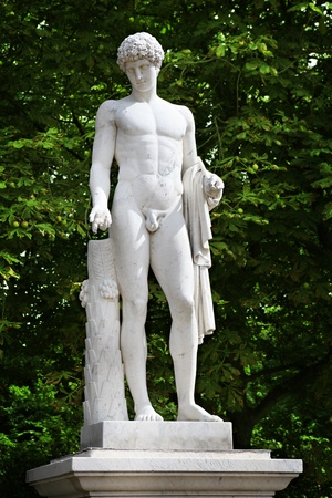 naked statue: 18th century statue in Sanssouci Park in Potsdam, Germany.