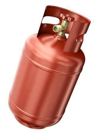Red gas container isolated on white background. 3D render photo