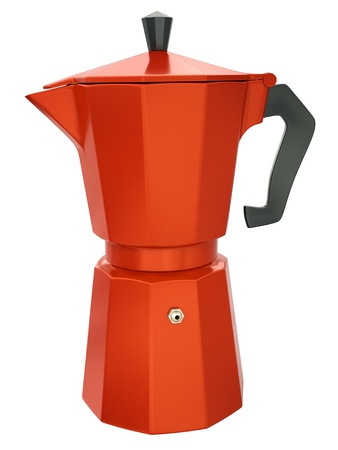 Red coffee maker isolated on white background  3D render  photo