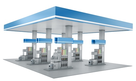 gasolinera: Estaci�n de gas aisladas sobre fondo blanco. Render 3D. Foto de archivo