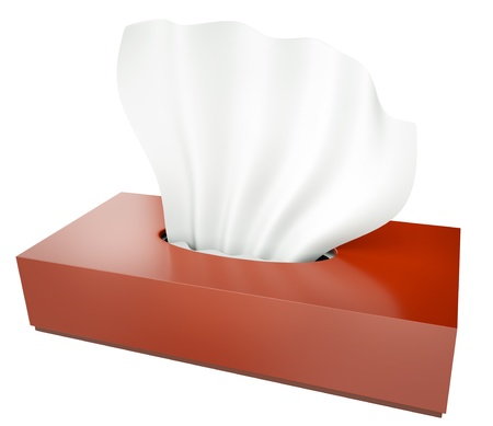 hanky: Red tissue box isolated on white background. 3D render. Stock Photo