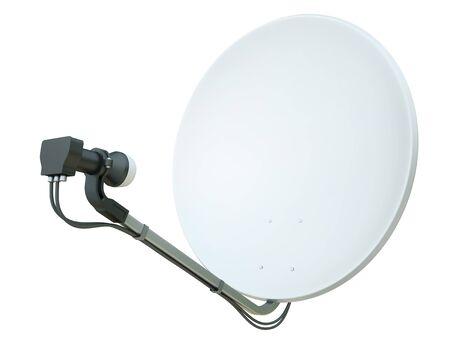 parabolic: White satellite dish isolated on a white background. 3D render. Stock Photo
