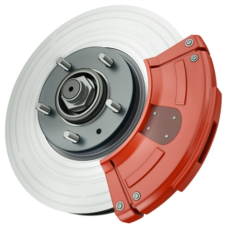 Car disc brake isolated on a white background. 3D render.