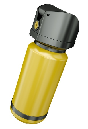 defense equipment: Yellow pepper spray tear gas container isolated on a white background. 3D render.