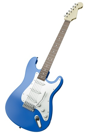 tremolo: Blue electric guitar isolated on white background. 3D render.   Stock Photo