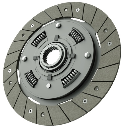 Car clutch plate isolated on a white background. 3D render.