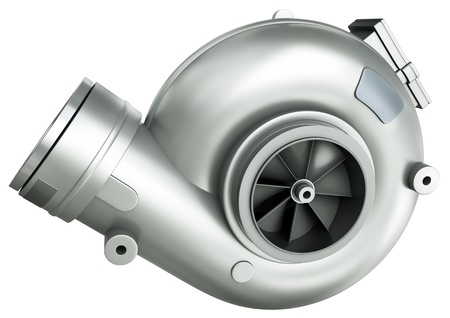 Automotive turbocharger, 3D render.