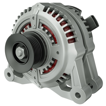 component parts: Car alternator isolated on a white background. 3D render. Stock Photo