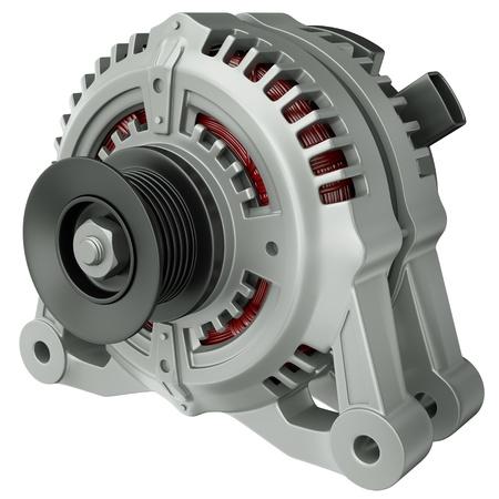 alternator: Car alternator isolated on a white background. 3D render. Stock Photo