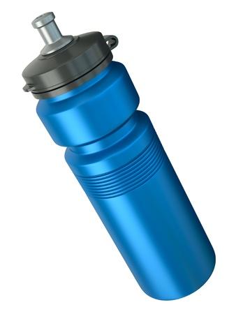 botella de plastico: Azul deportes botella de agua. Render 3D.