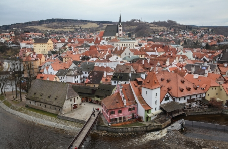 Cesk� Krumlov, Czech Republic - January 3, 2013 - View at the medieval town of Cesky Krumlov and Vltava river, located in the South Bohemian Region in the Czech Republic  Stock Photo - 22493260