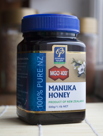 Wroclaw, Poland – April 3, 2013 – Close-up of the Manuka Honey jar, product of the New Zealand company Manuka Health  Editorial