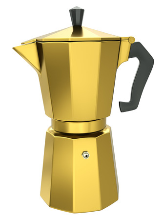 Gold coffee maker isolated on white background  3D render  photo