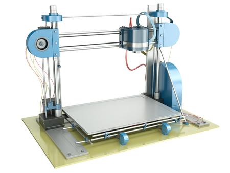 impresora: Impresora 3D aislado en un fondo blanco 3D representa la ilustración Foto de archivo