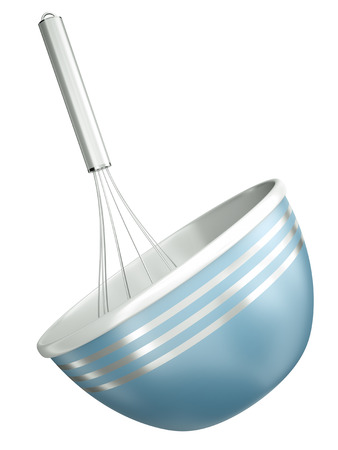 wire whisk: Blue bowl with a wire whisk isolated on a white background  3D render  Stock Photo