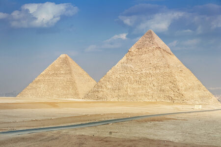 giza: Pyramid of Khufu and Pyramid of Khafre - two of the famous Great Pyramids of Giza in Egypt