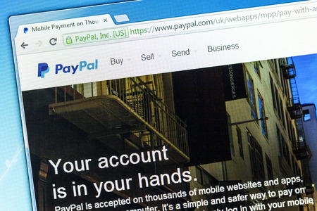 paypal: York, United Kingdom - May 3, 2014  Closeup of Paypal web page after the company s rebranding in 2014, seen in a browser on a PC monitor  Paypal is an international money transfer company