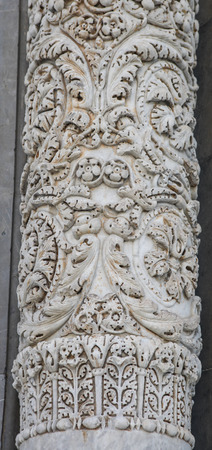 italian architecture: Close-up of an antique marble column of the Cathedral in Pisa, Italy Editorial