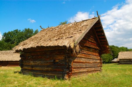 thatched roof: Old Ukrainian wooden hut with thatched roof
