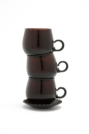 composition, the image of the tower of brown coffee cups photo