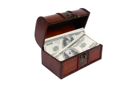 A money is kept in an ancient chest  Isolated on white, clipping path  photo