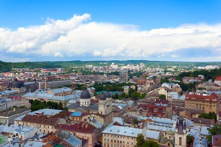 lviv: This Lviv city (Ukraine), top view from the tower of city, landscape Stock Photo