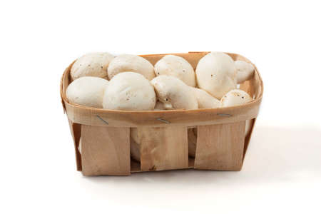 fungoid: basket of mushrooms, isolated on a white background Stock Photo