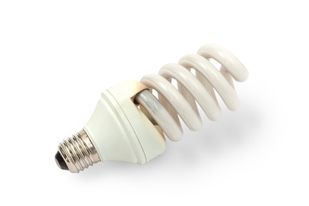 burned out: Burned out CFL bulb showing melted casing on a white background (clipping path)