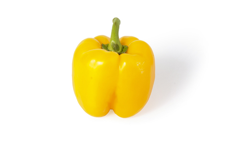 pimento: Ripe, yellow bell pepper on a white background, clipping path. Stock Photo