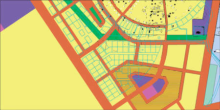 the settlement: township project in color, streets, areas, architecture diagram, plan of settlement, relief, houses, roads