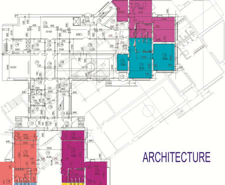 architecture: Abstract architecture background, architecture drawing Illustration