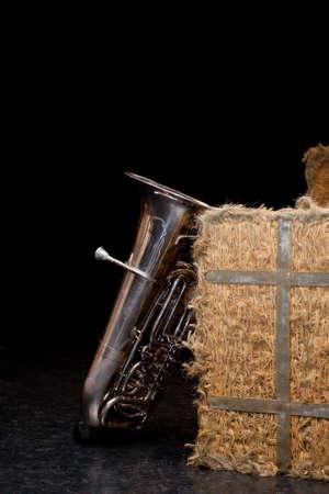 haystack: tuba and haystack on black background