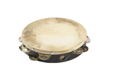 one tambourine on white background