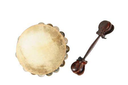 no way out: one tambourine and castanets on white background Stock Photo