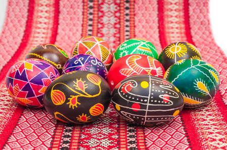 Ostern: some Easter Eggs Pysanka on the Ukrainian cloth Stock Photo