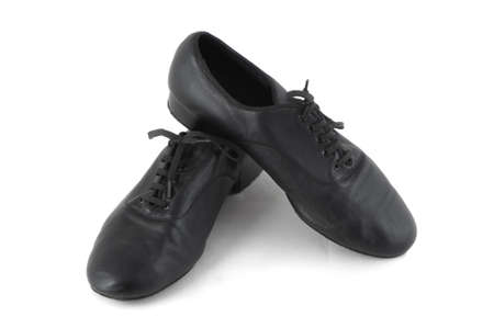 sateen: ballroom black leather shoes mens Stock Photo