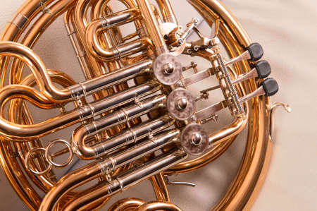 french horn: One french horn on grey background Stock Photo