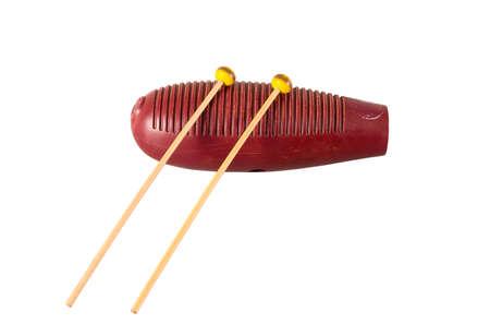 shekere: one guiro percussion instrument isolated on white background Stock Photo