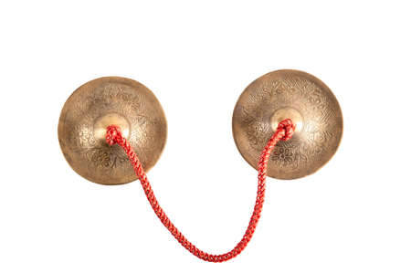 cymbals: crotales antique cymbals tingsha bells isolated on white background