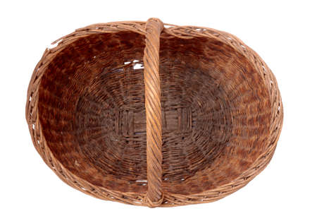 grass weave: Empty wicker basket isolated on white background