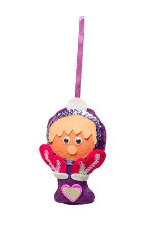 textile Christmas tree toys isolated on white background