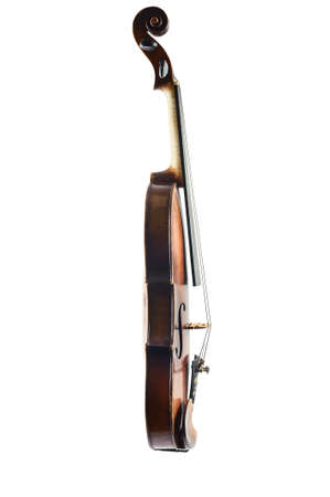 one violin image .old brown stringed wooden instrument isolated on the white background