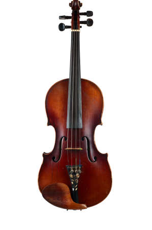 cellos: one violin image .old brown stringed wooden instrument isolated on the white background