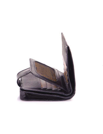 One purse, genuine leather with embossing ,black brown colors,Fashionable mens accessory To store money on a white background