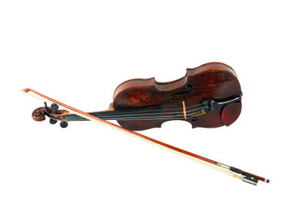 one violin image .old brown stringed wooden instrument isolated on the white background and bow